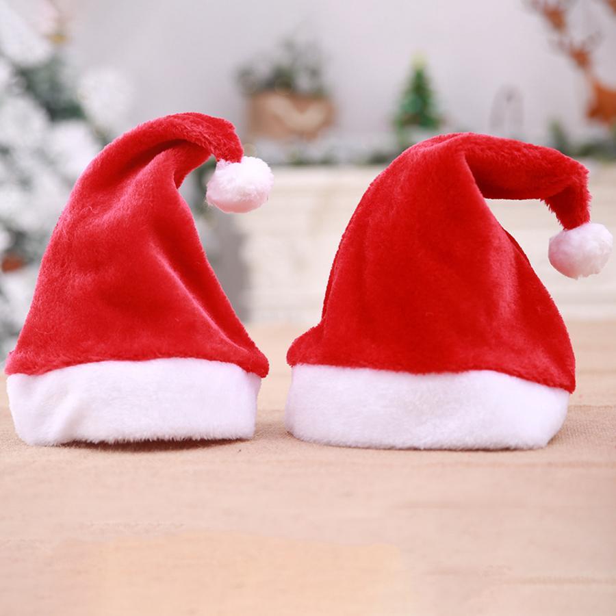 niños tamaño adulto casquillos de la Navidad del partido de X'mas felpa de color rojo sombreros de Santa Claus Vacaciones de Navidad Decoración Accesorios Sombrero RRA2012