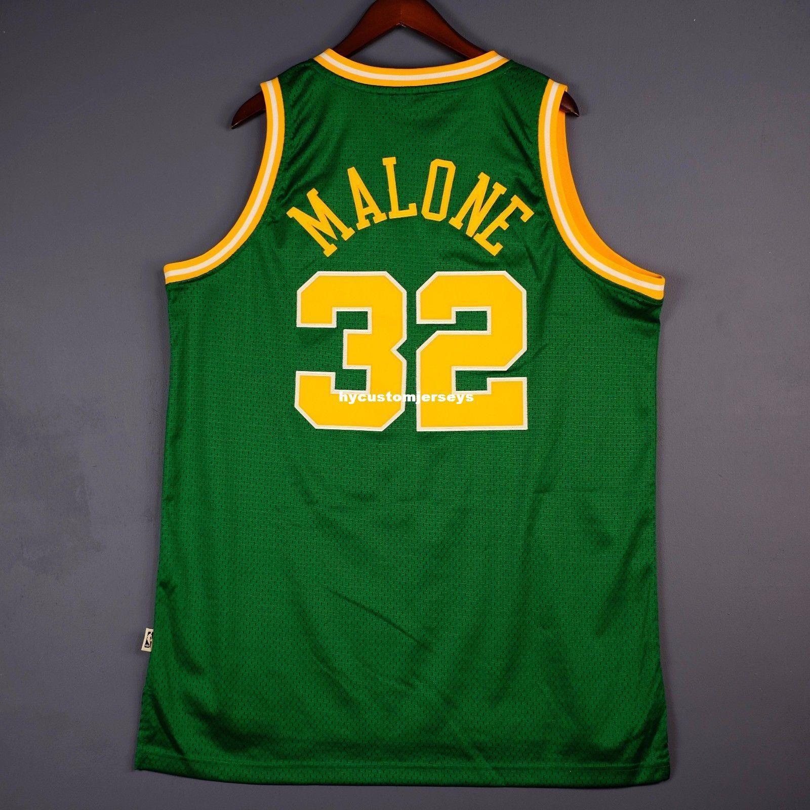 100% Cousu Karl Malone # 32 Âme HWC Vert Cousu Jersey Hommes Gilet Taille XS-6XL Maillots De Basketball Cousu Ncaa