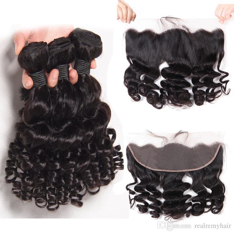 Funmi Kıvırcık Brezilyalı İnsan Saç Paketler 13 * 4 Dantel Frontal Doğal Siyah Saç Uzantıları Kısa Spiral Bouncy Bukleler Örgü Saç Atkı ile