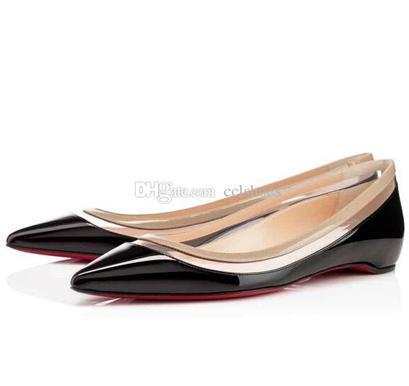 مثير الصيف الفاخرة أحمر أسفل بولينا pvc النساء شقة أشار تو براءات أحذية الباليه مصمم السيدات zapatos موهير sapato feminino