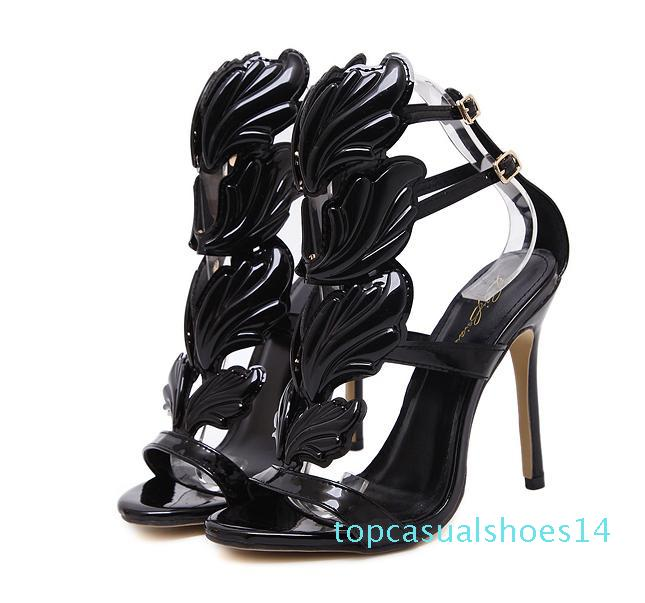 Milan Fashion Chic Flame metal leaf Wing High Heel Sandals Party Events Shoes Size 35 to 40 14t
