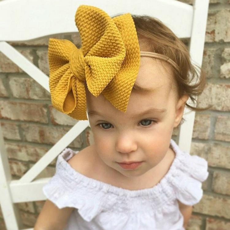 Cute Big Bow Hairband Baby Girls Toddler Kids Elastic Headbands Knotted Nylon Turban Head Wraps Bow-knot Hair Accessories