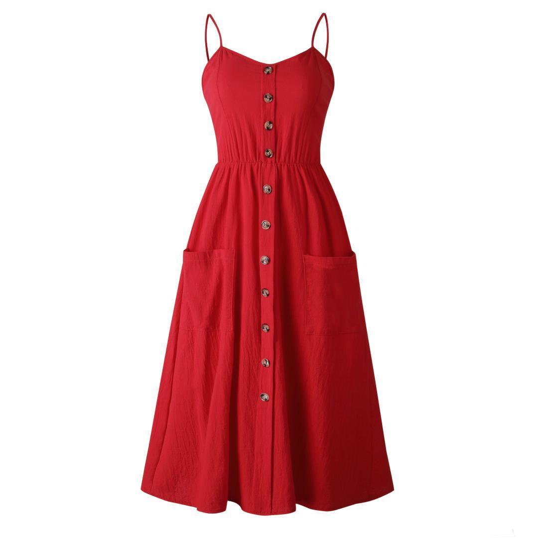 Button Sleeveless Shirt Dress 2019 Summer Cotton Boho Beach Dresses Women Casual Solid Pocket A-line Midi Party Dress Vestidos