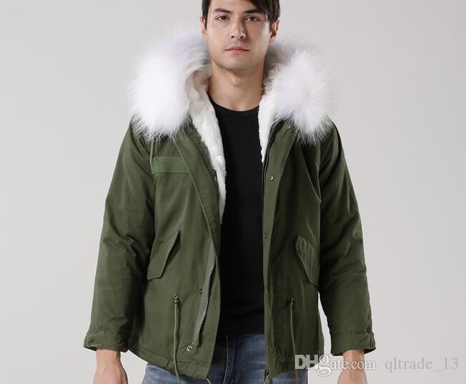 4XL 3XL curto Meifeng marca branco forro de pele de coelho longo verde do exército mini parkas com guarnição da pele de guaxinim branco resistente ao Frio homens jaquetas de neve