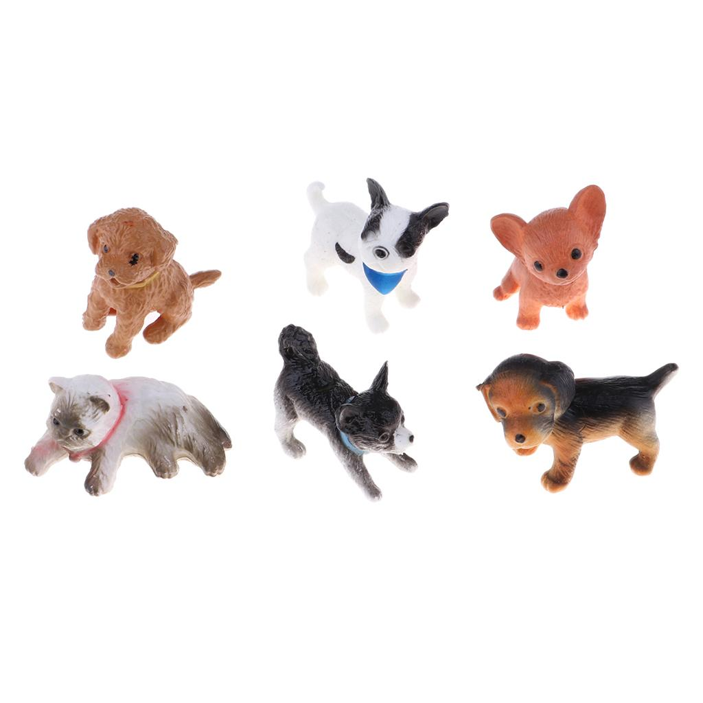 6pcs//Set 1//12 Miniature Little Puppy Pet Dog Animal Figure Dollhouse Pet Decoration Desktop Ornaments