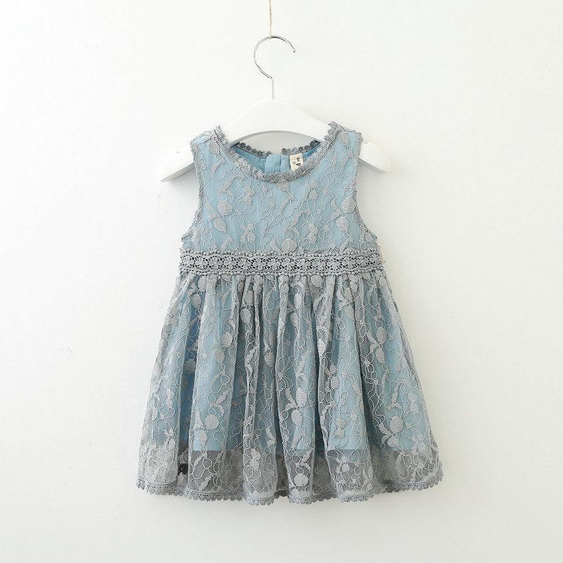 Vestido de la manera linda de los niños del vestido de la princesa sin mangas para niña pequeña informal de verano vestidos de los niños