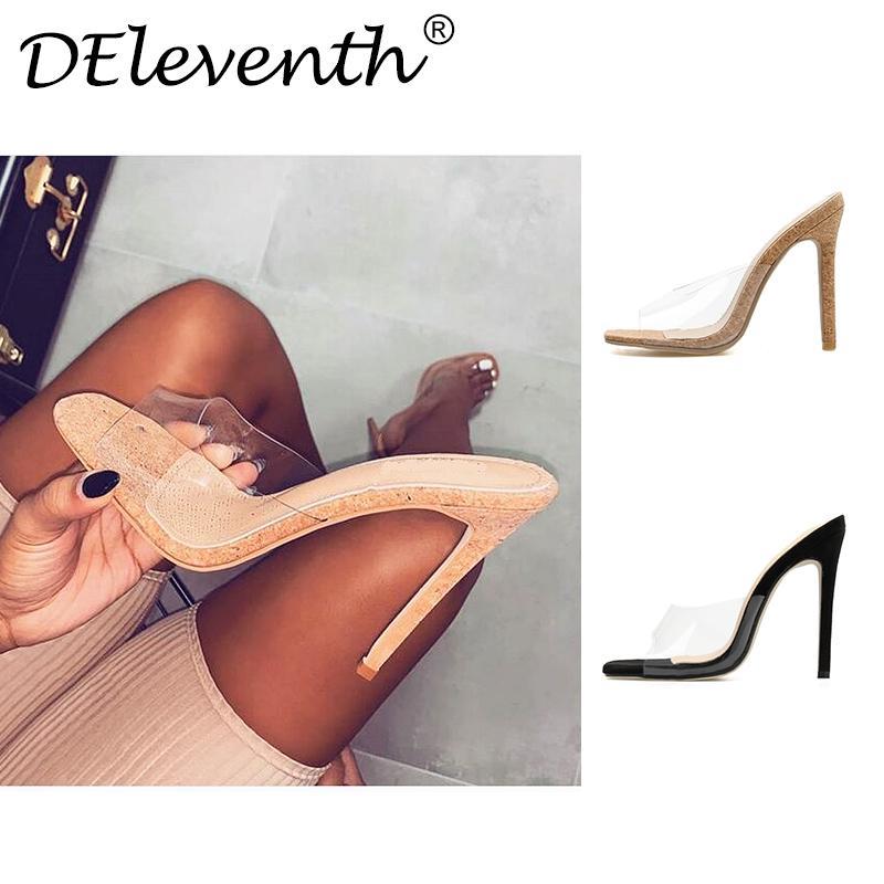 Dilys 2019 PVC jalea sandalias de los altos talones de las mujeres transparentes de plexiglás Zapatillas Zapatos de tacón Sandalias Claro tamaño 35-42