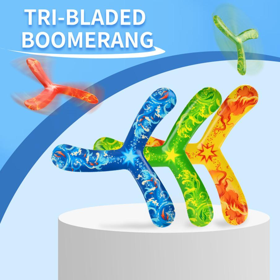 Children sport boomerang toy tri blade boomerang summer outdoor sport toy safe and handiness PU ABS material colorful