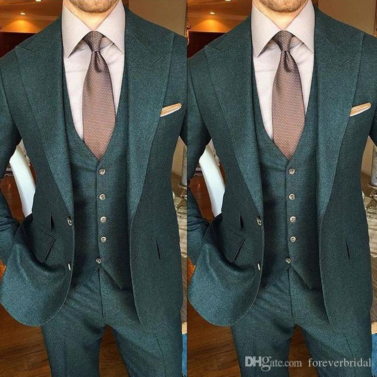 Green Groom Wear Wedding Tuxedos Slim Fit Peaked Lapel Men Suits Two Button Formal Business Blazer Clothing(Jacket+Pant)