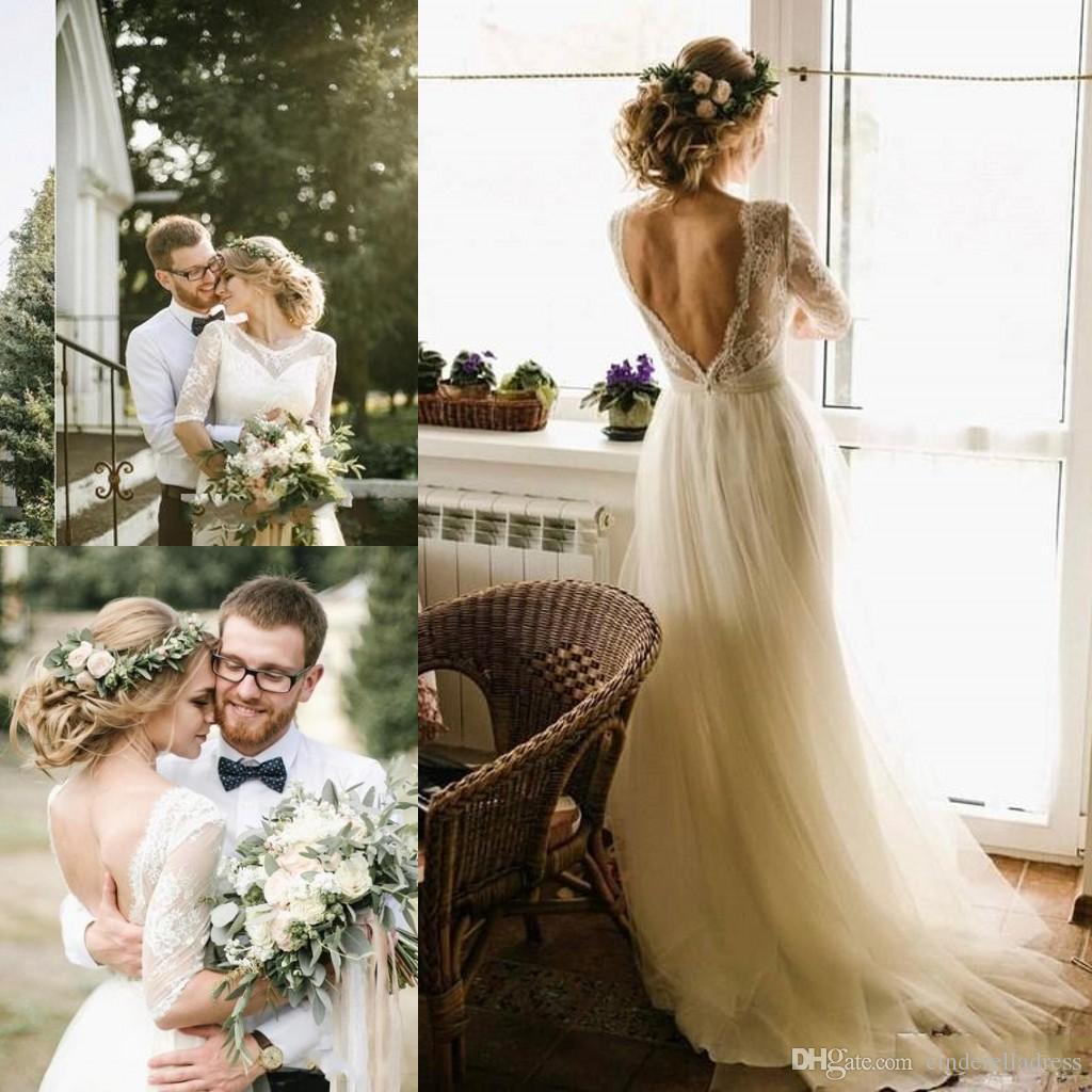 2020 País vestidos de boda de playa medias mangas con cuello redondo de encaje arriba Una línea de longitud del piso sin respaldo Boho vestidos de novia por encargo