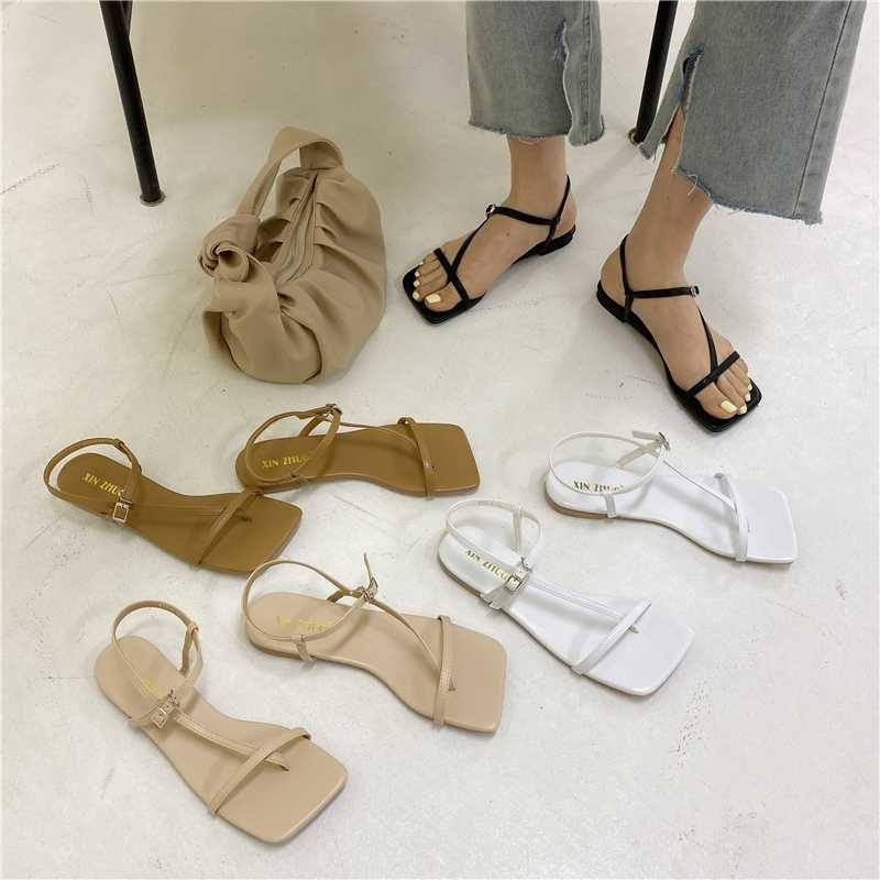 ElisabetTang Sandálias Flat para as Mulheres 2020 Toe Praça Verão Moda banda estreita Gladiador Shoes Mulher Preto Branco zapatos mujer