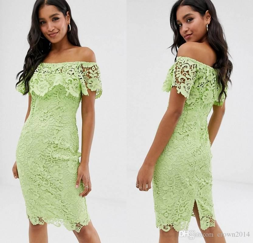 2019 Lime Green Lace Prom Dress Off The Shoulder Knee Length Sexy Sheath Cocktail Party Formal Evening Gowns with Frill Detail