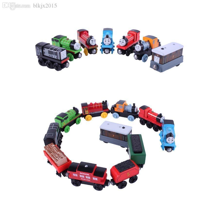 Wholesale-10pcs / серия Магнитные деревянные Tomas и друзья маленький поезд игрушки железная дорога набор