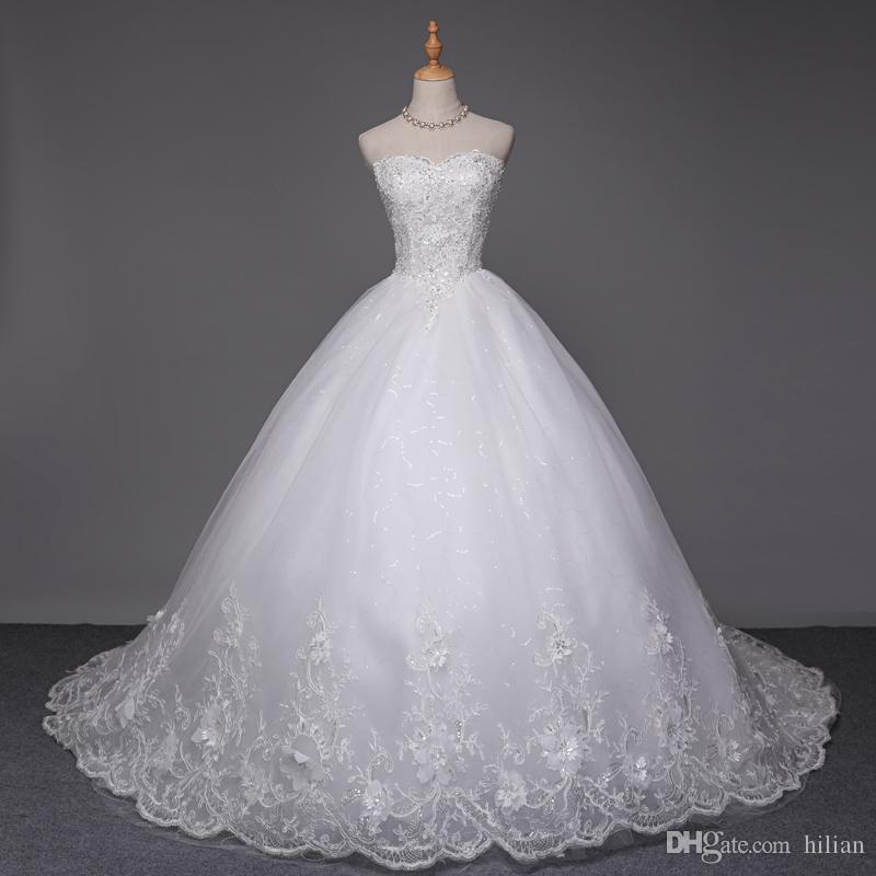 Novo Branco / Marfim Comprimento Total Rendas Sem Alças Longo Vestido de Noiva Vestido De Noiva Vestido De Noiva Personalizado Plus Size lace Up Voltar Para O Casamento Ocasião Formal