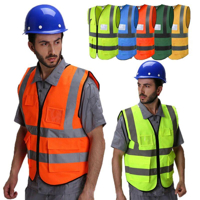 Uomini Hi-Vis Sicurezza giubbotto riflettente di guida lavoratore notturno di sicurezza Gilet