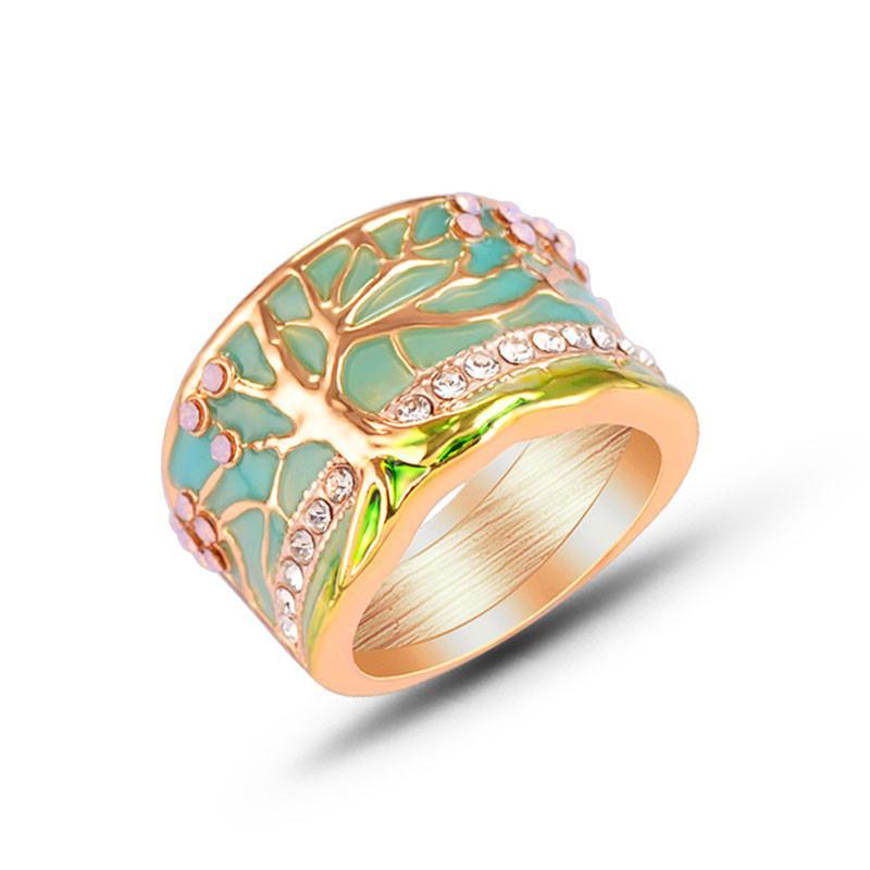 Alloy Mulheres Moda Shinny Diamante Verde Trees Anel Enviromental Tratamento Party For Anéis Superfície Epoxy