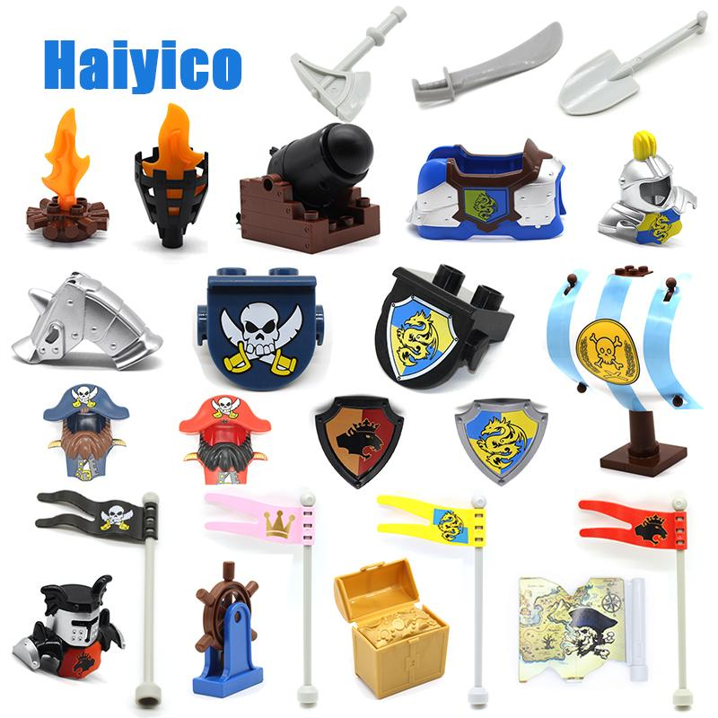 Big Building Blocks Castle Pirate Arms Armor War Cannon Model Accessories Bricks Compatible With Duplo Set Figure Toy Child Gift