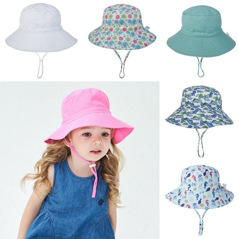 Ins Children's Bucket Hat Sun Fish Visor Flower Animal Dinosaur Printed Sunhats Baby Fashion Summer Helmet Topee 16 Colors