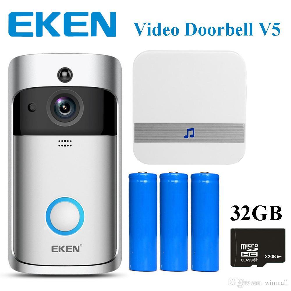 DHL EKEN Video Kapı Zili V5 Akıllı Ev Kapı Zili Çan 720 P HD Wifi Kamera Gerçek Zamanlı Video Iki Yönlü Ses Gece Görüş PIR Hareket Algılama
