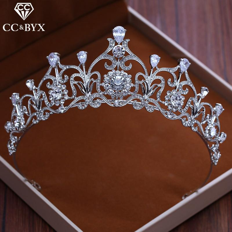 CC Tiaras And Crowns Hairbands CZ Stone Water Drop Princess Engagement Wedding Hair Accessories For Bridal Fine Jewelry XY101 C18112001