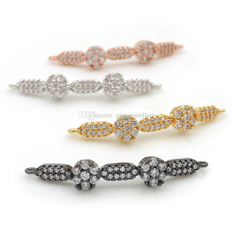 42*6*4mm Micro Pave Clear CZ 2 Flowers Arc Bar Connectors Fit For Men And Women Making Bracelets Jewelry
