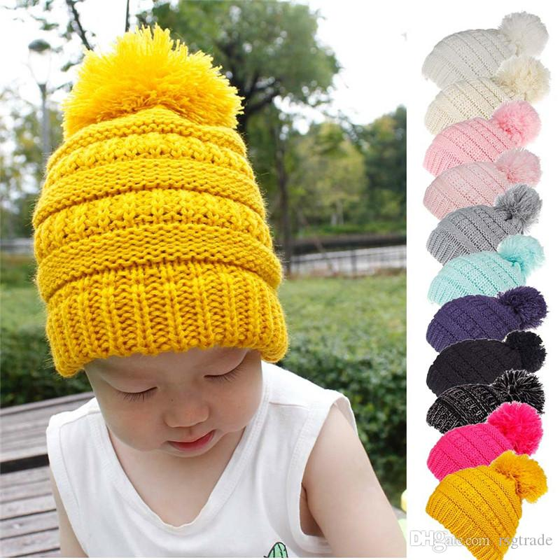 Free DHL Kids Winter Beanie Hats Children Knitting Crochet Pompom Hat Knitted Fur Ball Caps Fashion Outdoor Warm Pom Cap 11colors INS
