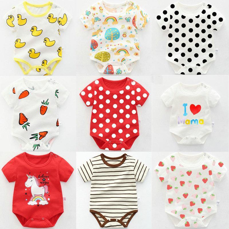 40 farben Günstige babyspielanzug onesies neugeborenen karikatur gedruckt kurzarm sommer baumwolle overalls strampler dreieck kleidung kleinkind body