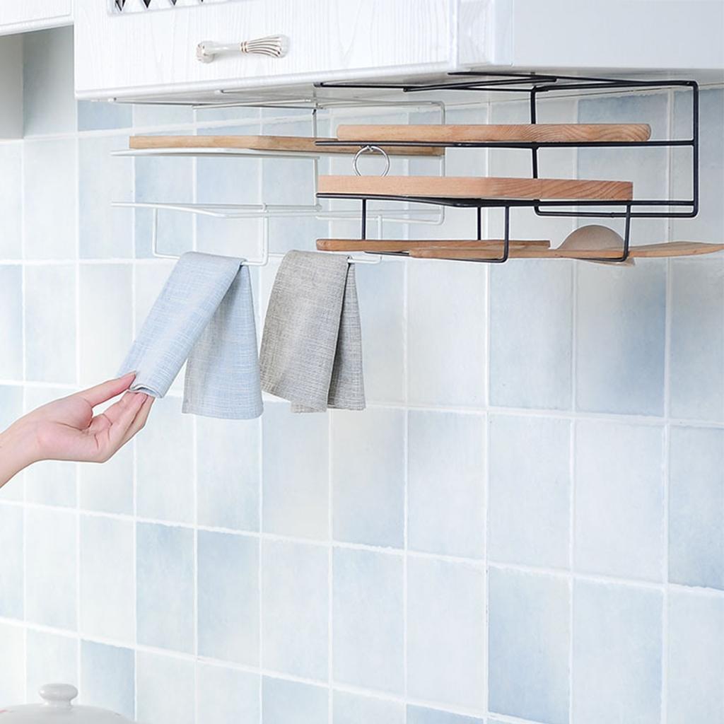 Nuevo estante de almacenamiento de cocina Armario Colgador Gancho Colgador Soporte organizador de almacenamiento Blanco
