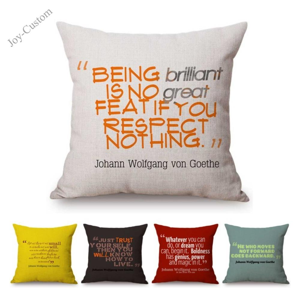 Poem Motto Poet Johann Wolfgang Von Goethe Quote Literature Art Nordic Letter Print Sofa Cushion Cover Cotton Linen Pillow Case Cushions For Wicker