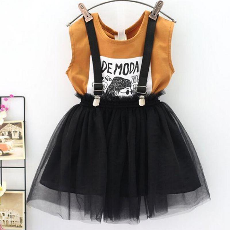 아기 여자 옷은 여름 유아 여자 의류 운동복 한 벌 패턴 T 셔츠 + 스커트 어린이 옷 어린이 옷 7 8 년 T200707을 설정합니다