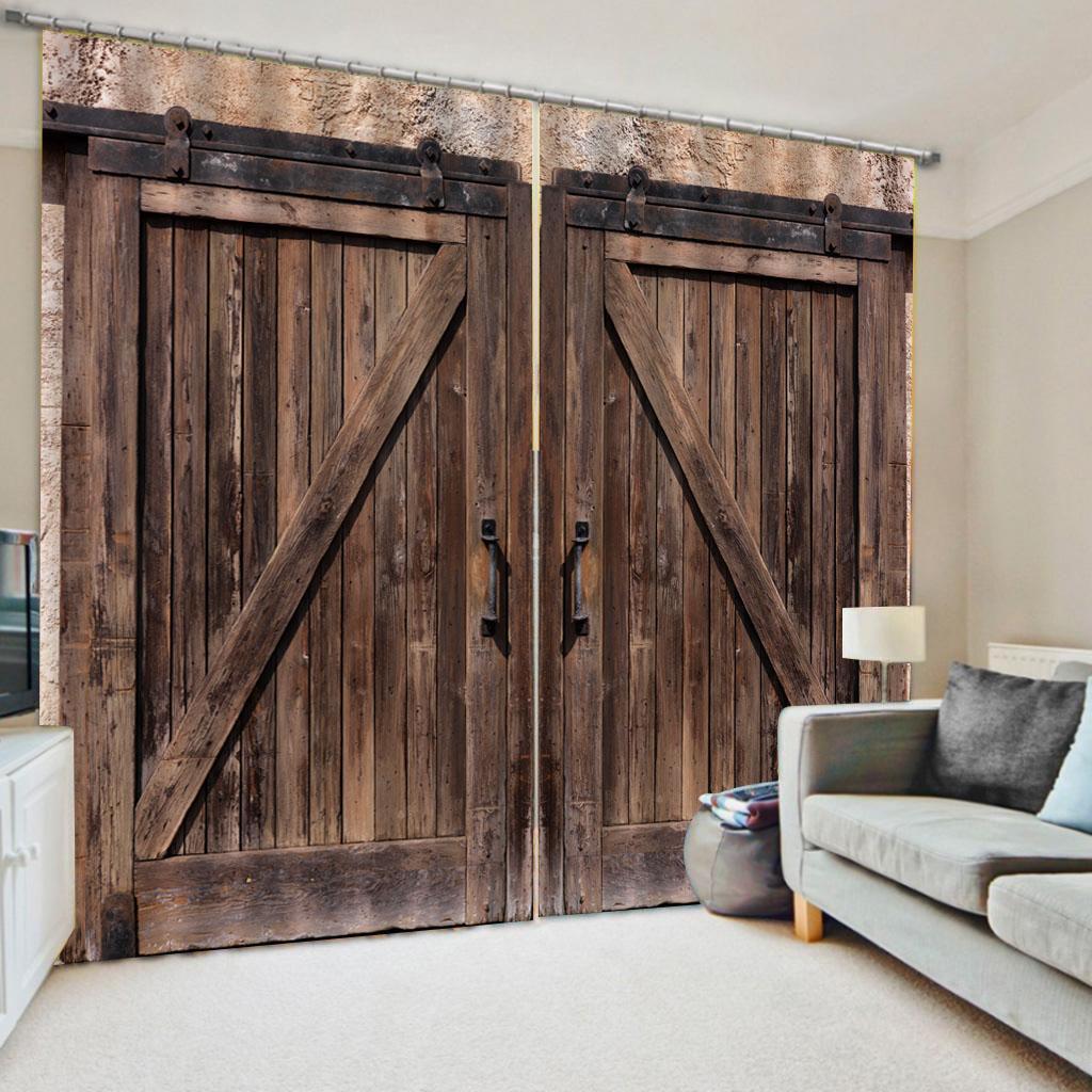 portas marrons cortinas 3D Cortina Impressão Blockout poliéster Foto cortinas Tecido quarto apagão cortinas Para
