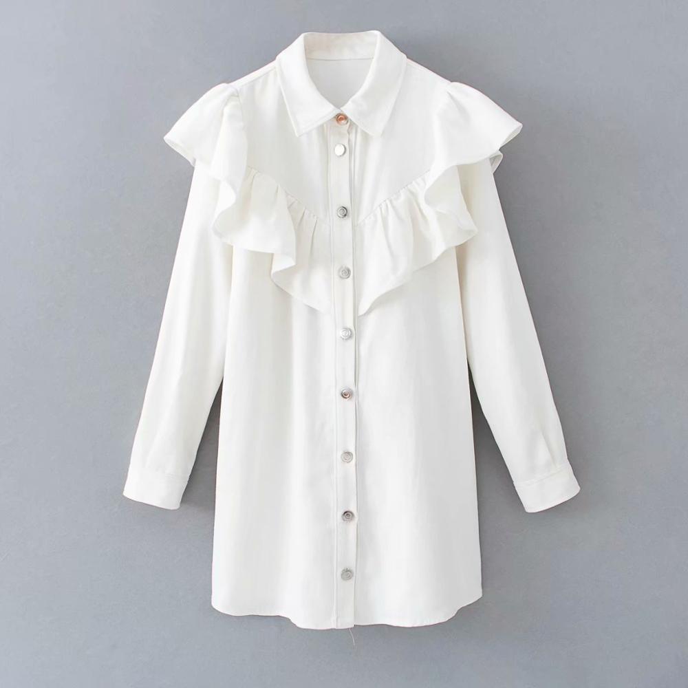 2020 Nuevas mujeres con estilo Vestido de mezclilla Vestido de mezclilla Girar el cuello de manga larga Mini vestidos de estilo recto Vestidos DS3487 T200623
