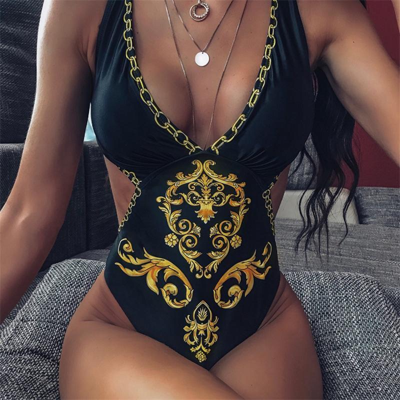 Approsgrass Brand Designer One Piece Bikini Купальники Женщины Сексуальная V Шеи Печать Купальник Женский Новый Бадюнный Купальник Бразильский Бикини