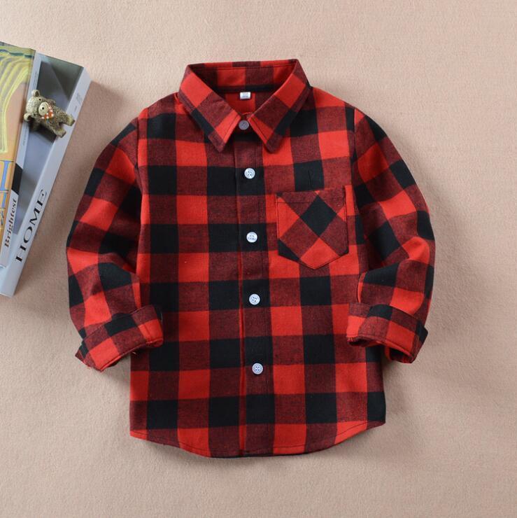 camisa xadrez chlid miúdo Meninos menina manga comprida botões de bolso cobre a camisa Ligue Outono Turn Down Collar Blusa LXL793Q