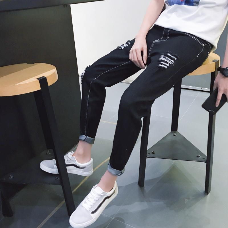 2018 Printemps Été Nouvelle Arrivée Hommes Jeans Couleur Unie Auto-culture Trous Petite Jambe Droite Pieds Reliés Pieds Longueur Pantalon