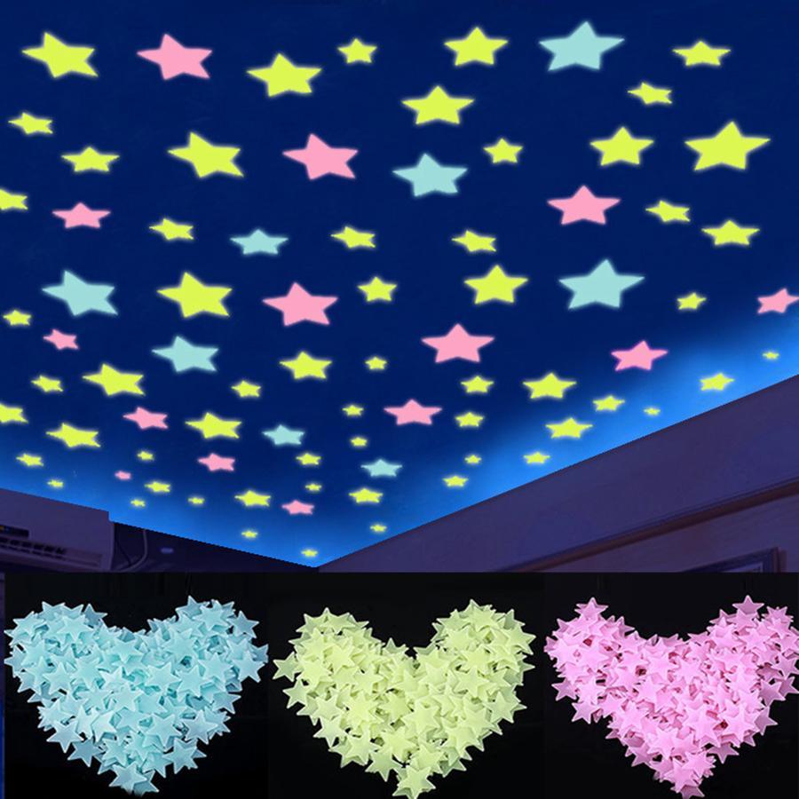 Luminosos Adesivo Estrela três centímetros brilham no Quarto Escuro Sofá fluorescentes PVC Wall Sticker 100pcs / pack OOA8134