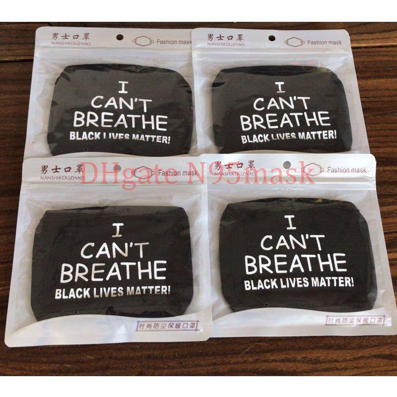 Je ne peux pas respirer Lettre visage impression design Masques masque vie Noir Masque Tissu d'importance Designer Masques visage style anti carbone filtre en tissu