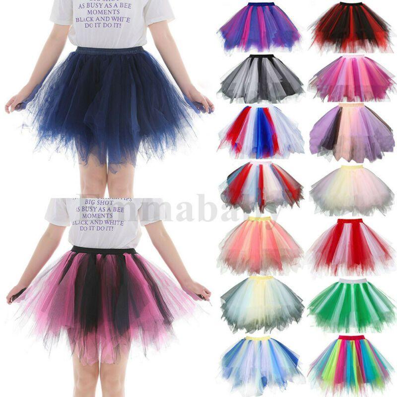 Las niñas de la mujer Ballet 2020 del partido del traje del desgaste Tulle del tutú de danza de la falda Intérprete falda del tutú del adulto plisado gasa Mini Falda Corta