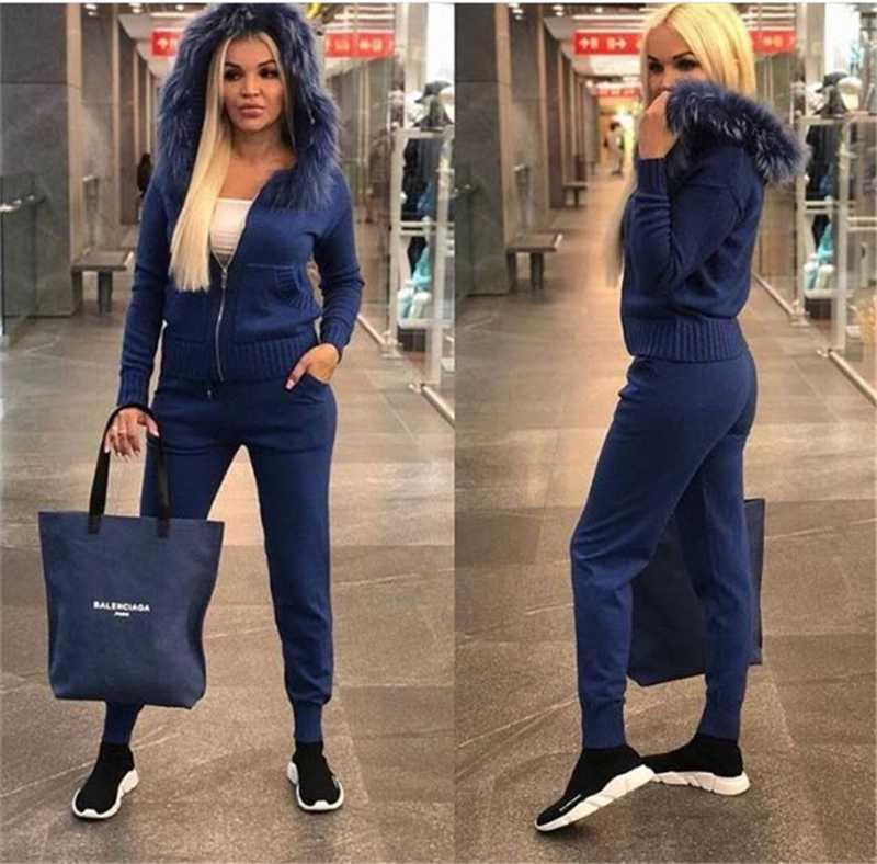agasalho de malha para mulheres Camisola encapuçado Casual malha terno Mulheres 2 peças conjunto de terno das mulheres Sporting de manga comprida Zipper