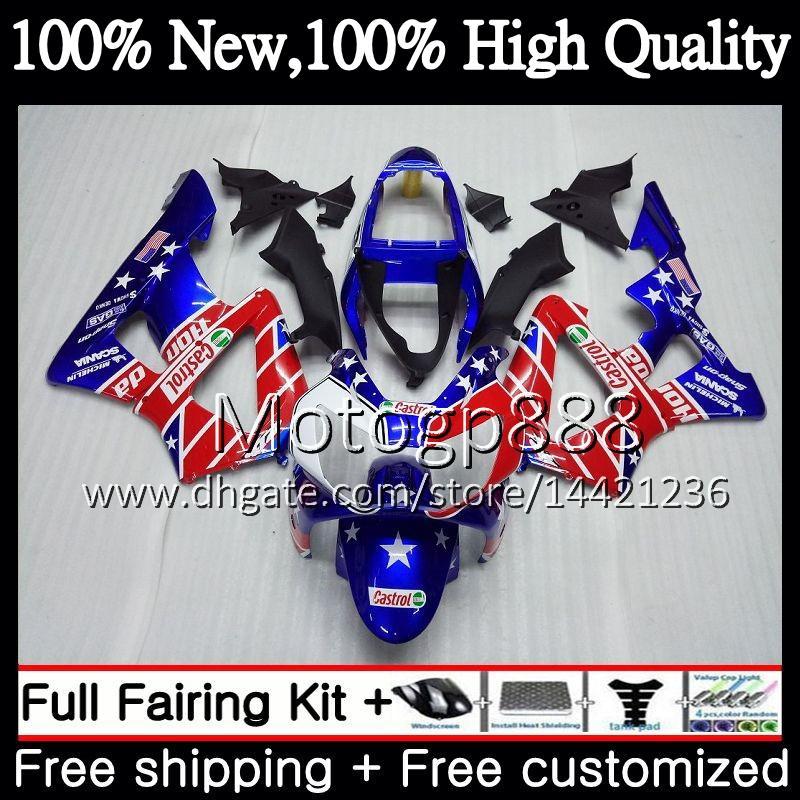 Body For HONDA CBR900 RR CBR 929RR CBR 900RR CBR929RR 00 01 54PG22 CBR 929 RR Blue red hot CBR900RR CBR929 RR 2000 2001 Fairing Bodywork