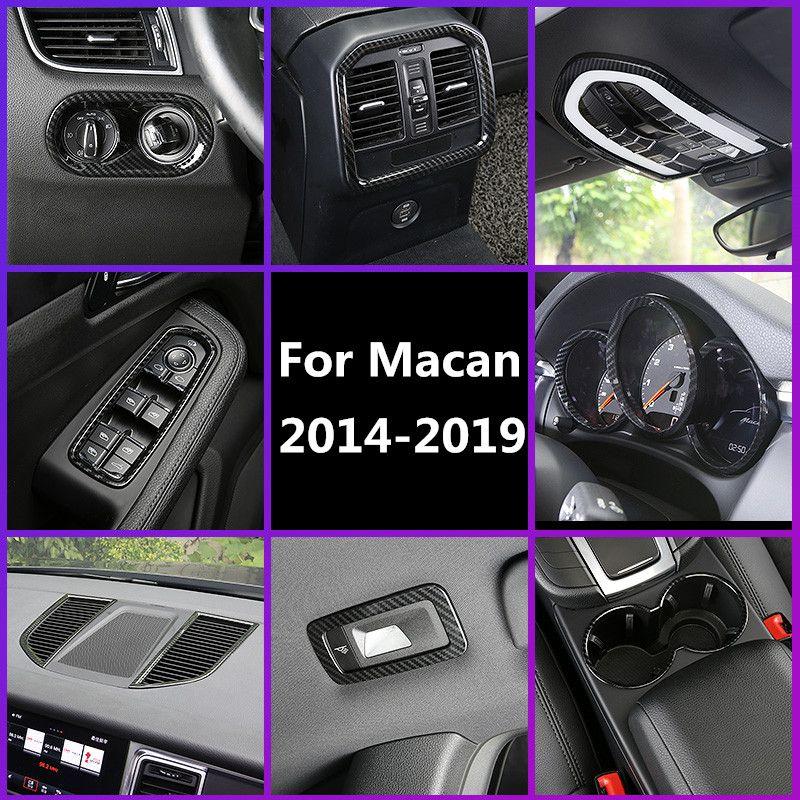 Fibra de carbono Impreso Interior Del Coche Cubierta de Salida de Aire Cubierta de Control de la Ventana Moldura de Moldura para Porsche Macan 2014 2015 2016 2017 2018 2019