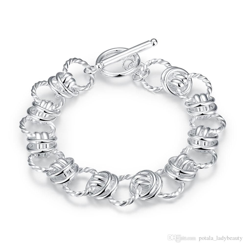 Lovely Bracelets Double Circles 925 Silver Bangles Romantic Silver Plated Link Chain Bracelet For Valentine's Day Jewelry Gifts POTALA072