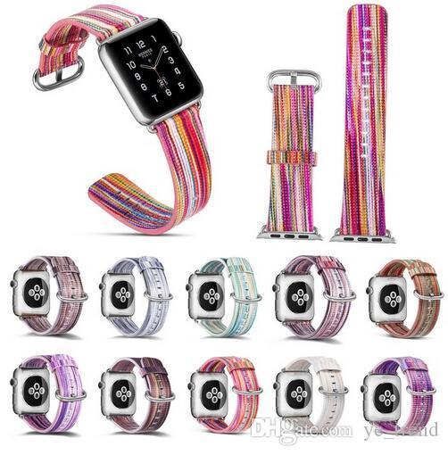Apple Watch Series 4 3 2 1 화려한 무지개 가죽 밴드 팔찌 iWatch 벨트에 대한 정품 가죽 스트랩 38mm 42mm 44mm 40mm