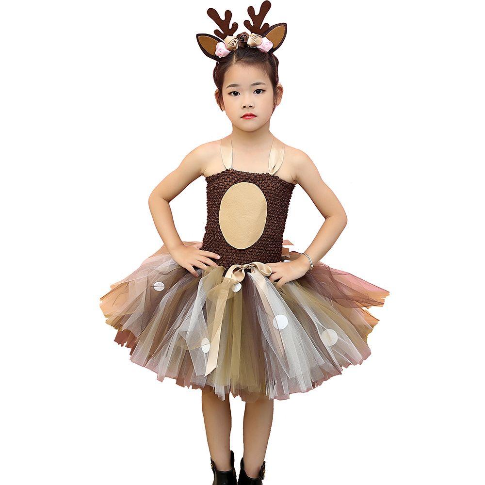 Brown Deer Tutu Dress Halloween Costume for Girls Kids Birthday Party Dress Children Cosplay Animal Sika Deer Dress Up Clothes Y200226