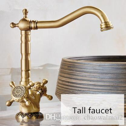 Basin Faucet Antique Bronze Carved Dual Handle Hot & Cold Sink Faucet Mixer Kitchen Tap Bathroom Faucet Lavatory Mixer