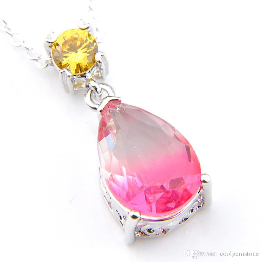 12 piece /Lot drop Pink Bi colored Tourmaline Topaz Gemstone 925 Sterling Silver Pendant Wedding Pendants Russia USA Pendants for Necklaces