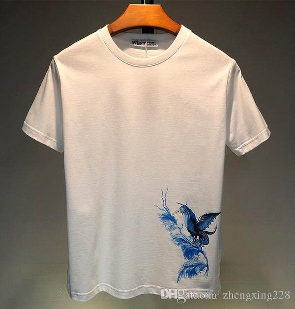 Luxe hommes Designer T-shirts Nouveau été T-shirt bleu d'oiseaux Impression t-shirt Designer Hip Hop Hommes Femmes manches courtes T-shirts Taille S-XXL