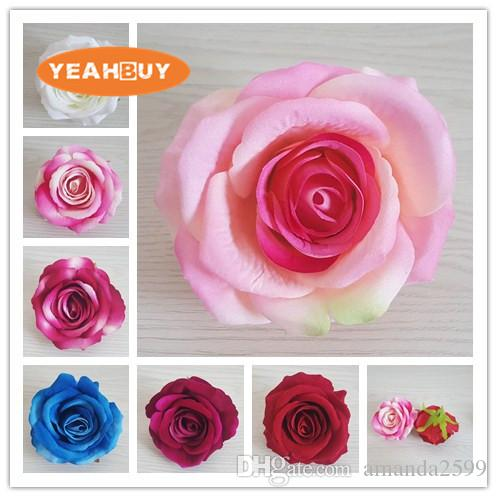 200pcs 9cm 7colors Artificial rose flower head fabric silk flower for diy decorative flowers vine wedding arch wall flower accessory