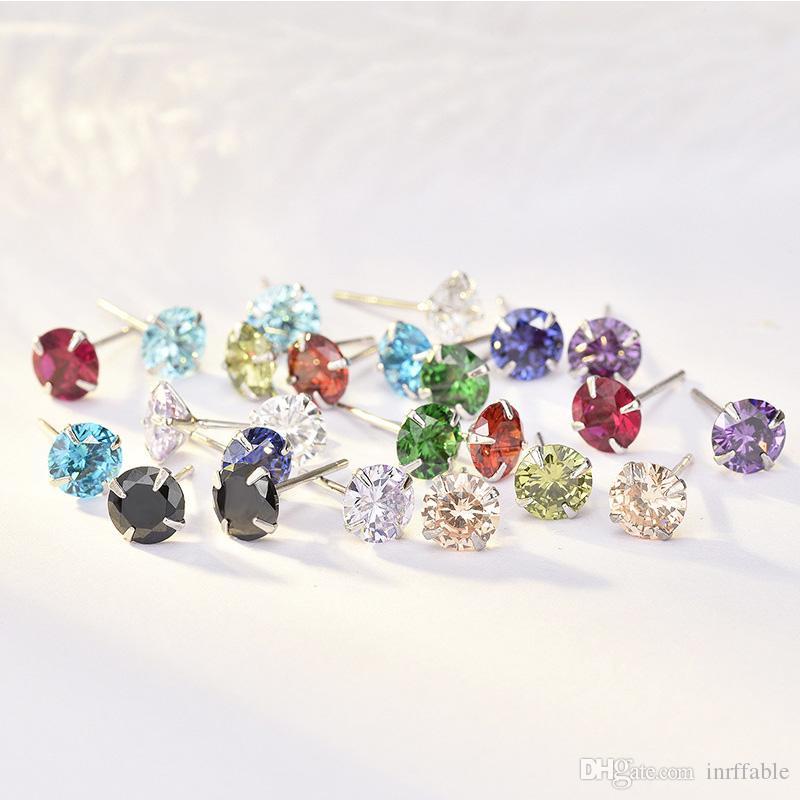 Orecchini romantici in argento sterling 925 orecchini 12 colori 5a grado cubico zirconi in pietra orecchio borchie regalo di natale di compleanno