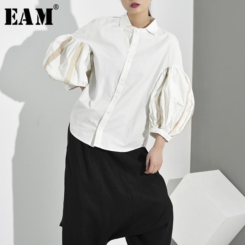 [EAM] Frauen weiß Quasten Split Temperament Bluse New Revers Langarm Loose Fit Hemd Mode Tide Frühling Herbst 2019 JE8200
